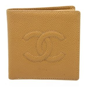Chanel Beige Caviar Leather CC Compact Wallet
